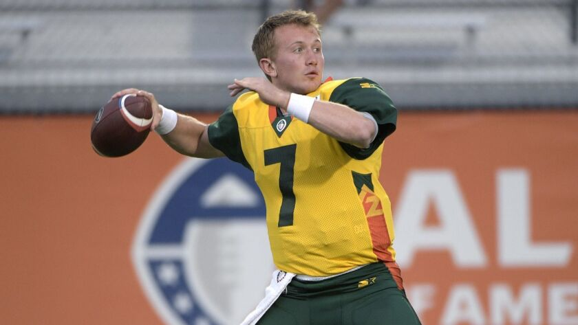 Arizona Hotshots quarterback John Wolford (7) warms up before an AAF football game against the Orlan
