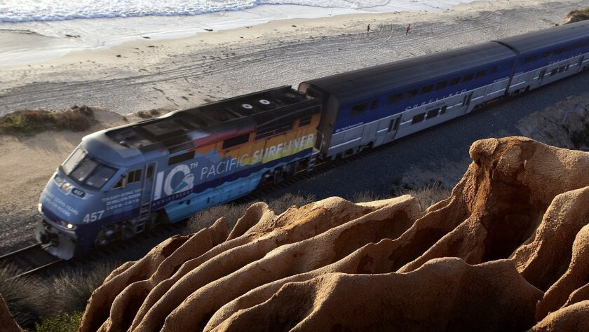 Amtrak Pacific Surfliner heads south past Torrey Pines State Beach.