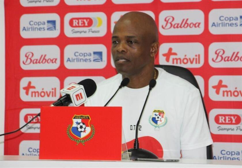 The head coach of Panama's national soccer team, Julio Dely Valdes gives a press conference on March 22, 2019, after a team practice in Porto, Portugal. His squad will take on powerhouse Brazil in a friendly on March 23, 2019, at Estadio do Dragao in Porto. EPA-EFE/Panama's soccer federation