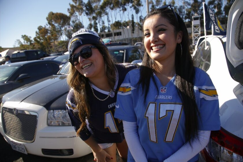 Sisters Sonia Cisneros (l) and Stephanie Cisneros (r) support the San Diego Chargers as they take on