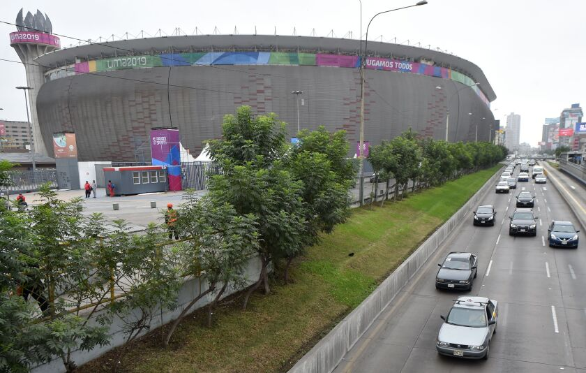 View of the national stadium -which will house the inauguration of the Lima-2019 Pan-American Games on July 26- in Lima on July 17, 2019. - Over 600 Peruvian athletes are expected to participate in the Lima 2019 Pan American Games, which will take place from July 26 to August 11. (Photo by Cris BOURONCLE / AFP)CRIS BOURONCLE/AFP/Getty Images ** OUTS - ELSENT, FPG, CM - OUTS * NM, PH, VA if sourced by CT, LA or MoD **