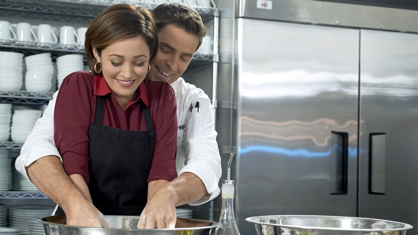 "Autumn Reeser and Kavan Smith in the new TV movie ""Love on the Menu"" on Hallmark."