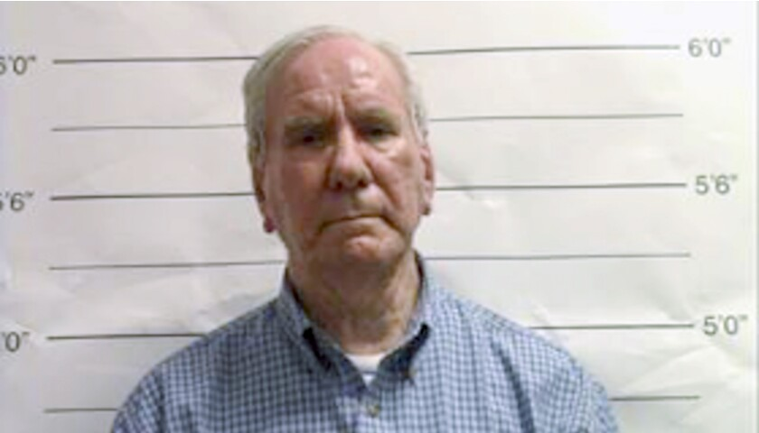 This Sept. 21, 2019 booking image made from video and provided by the Orleans Parish Sheriff's Office in New Orleans, La., shows George F. Brignac. Brignac, a longtime schoolteacher and deacon was arrested Saturday, Sept. 21, 2019, on one count of first-degree rape, more than a year after a former altar boy told New Orleans police that Brignac repeatedly raped him four decades ago. (Orleans Parish Sheriff's Office via AP)