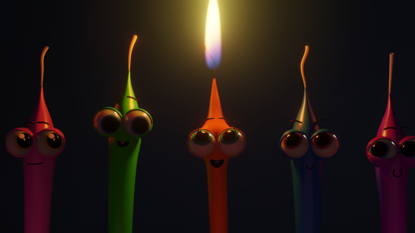 Animated Hanukkah candles on a menorah