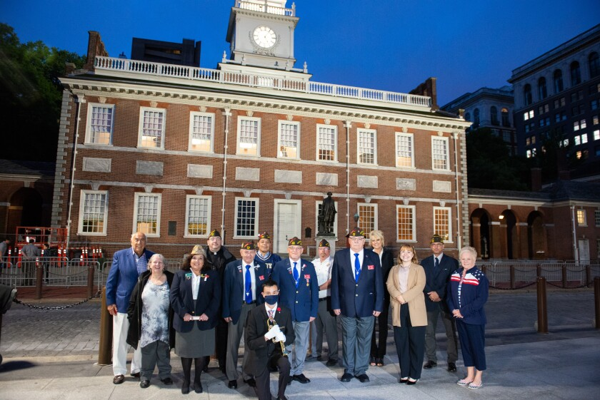 Veterans and Philadelphia VFW members gather for the Opening Ceremony in front of Independence Hall.