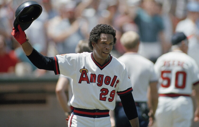 Rod Carew acknowledges fans after his 3,000th career hit in 1985.