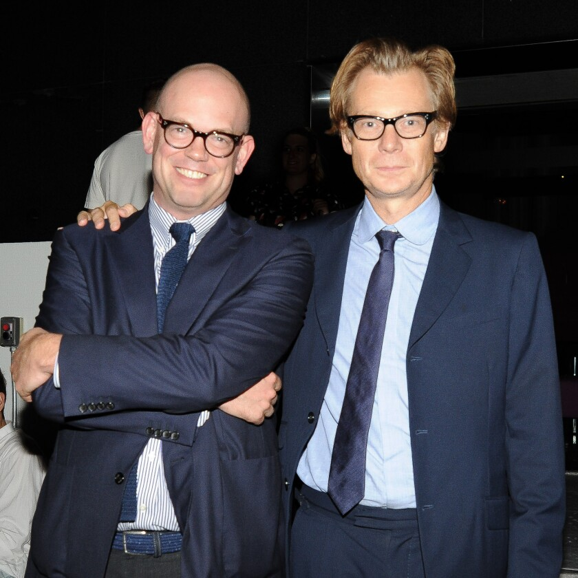 Senior curator Bennett Simpson, left, and MOCA director Philippe Vergne at the MOCA dinner.