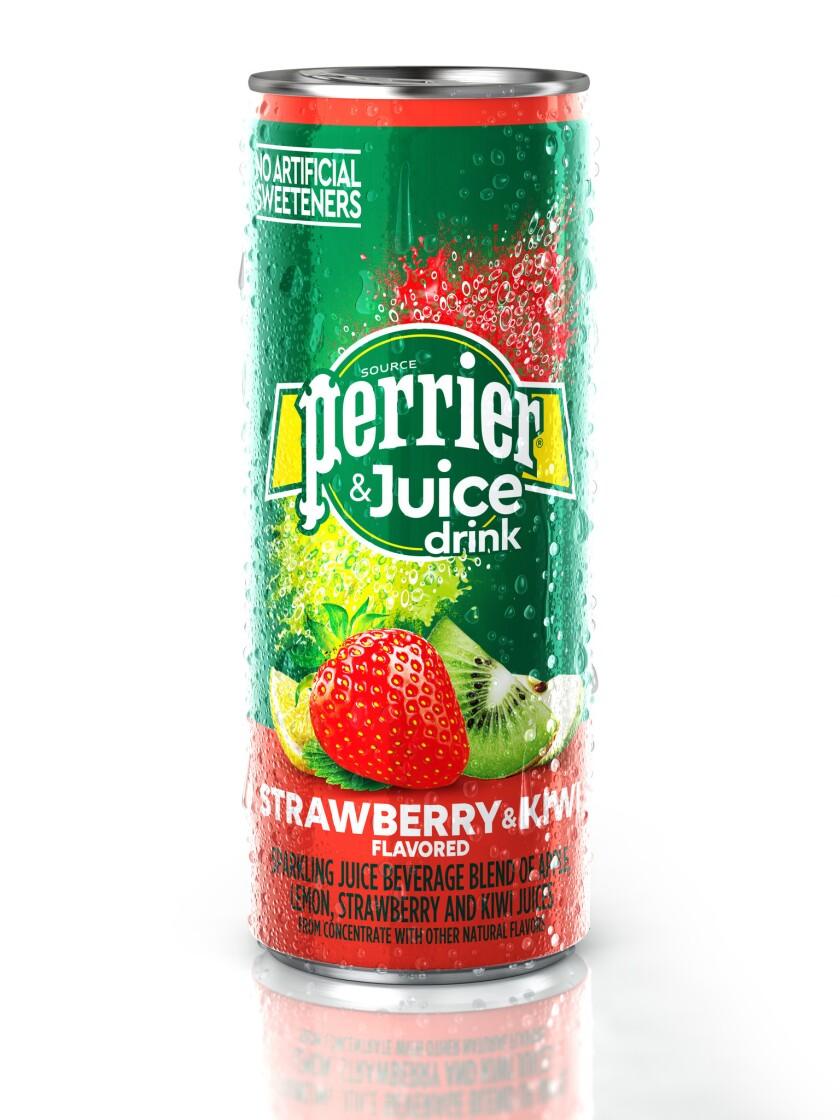 Sparkling water and fruit juice are an healthier option to sodas by Perrier Strawberry.