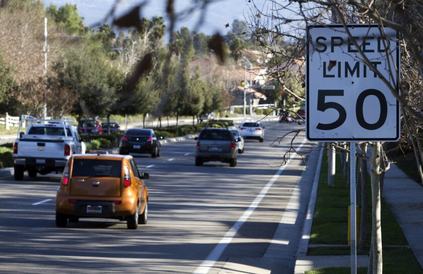 Southbound traffic zips past a speed limit sign on Margarita Road north of Winchester in Temecula. The speed limit on portions of Margarita will be changing soon.