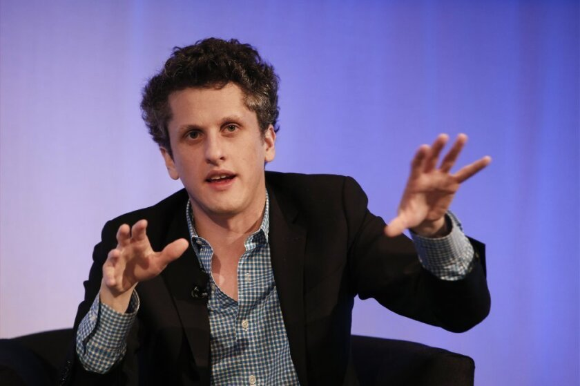Aaron Levie, co-founder and chief executive of Box Inc., speaks during Digital Entertainment World in Los Angeles.