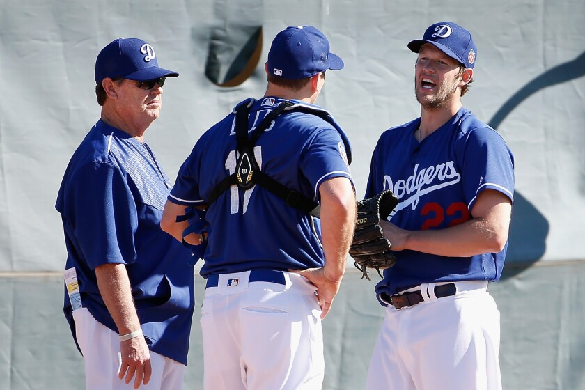 Dodgers get a look at abundant pitching staff at first spring workout