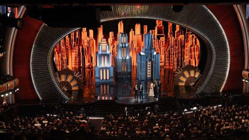 One of the Deco-heavy sets for the Academy Awards on Sunday at the Dolby Theatre in Hollywood.