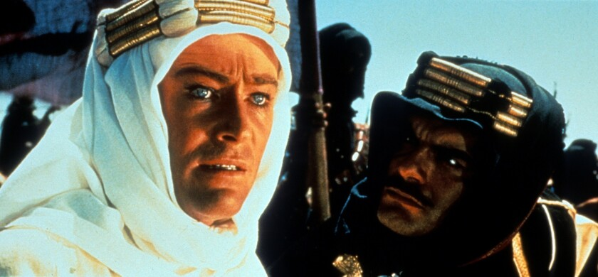 """Peter O'Toole and Omar Sharif in a scene from the film """"Lawrence of Arabia."""" (1962)"""
