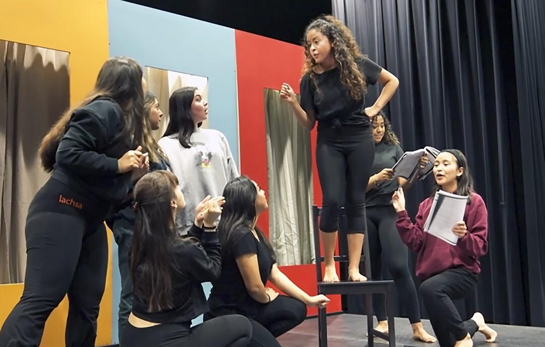 "LACHSA senior Alondra Santos rehearsing ""West Side Story"""
