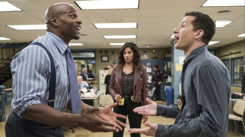 "(L-R) - Terry Crews, Stephanie Beatriz and Andy Samberg in the ""Return to Skyfire"" episode of ""BROO"