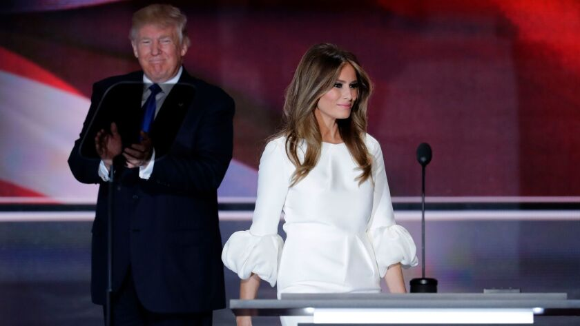 President-elect Donald Trump, left, is seen onstage with future first lady Melania Trump during the Republican National Convention in July.