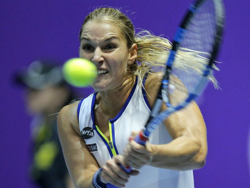 Dominika Cibulkova of Slovakia  returns the ball to Caroline Wozniacki of Denmark during the St. Petersburg Ladies Trophy-2016 tennis tournament match in St.Petersburg, Russia, Thursday, Feb. 11, 2016. (AP Photo/Dmitri Lovetsky)