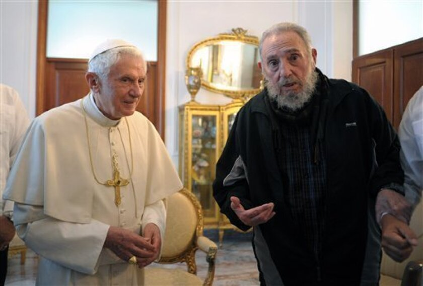 FILE - In this Wednesday, March 28, 2012 file photo provided by the Vatican newspaper L'Osservatore Romano Pope Benedict XVI meets with Fidel Castro in Havana. Benedict announced Monday Feb. 11, 2013 he would  resign Feb. 28, the first pontiff to do so in nearly 600 years. (AP Photo/L'Osservatore R