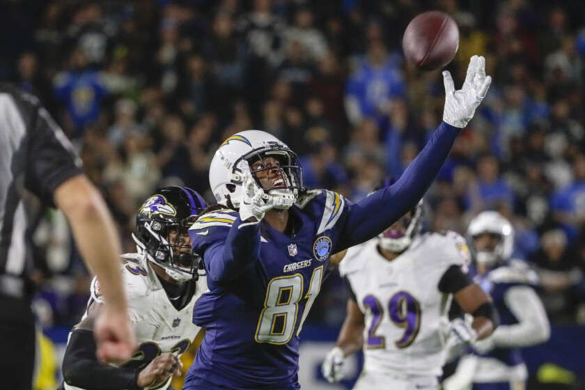 Chargers receiver Mike Williams can't reach a pass from quarterback Philip Rivers during a fourth quarter drive at StubHub Center.