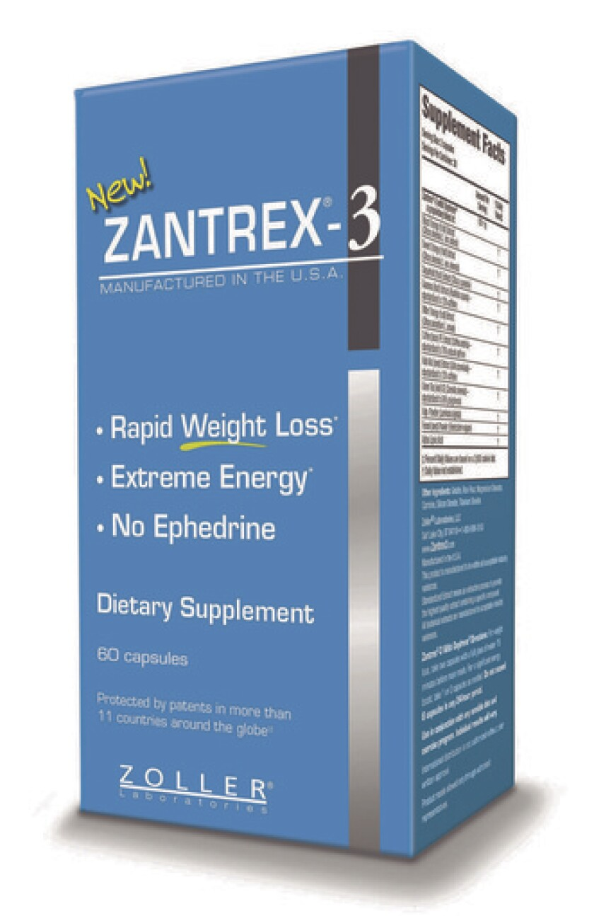 """Zantrex-3, the popular weight-loss supplement from Zoller Laboratories, lists """"up to"""" 160 milligrams of """"caffeine and caffeine-like stimulants"""" in each capsule."""