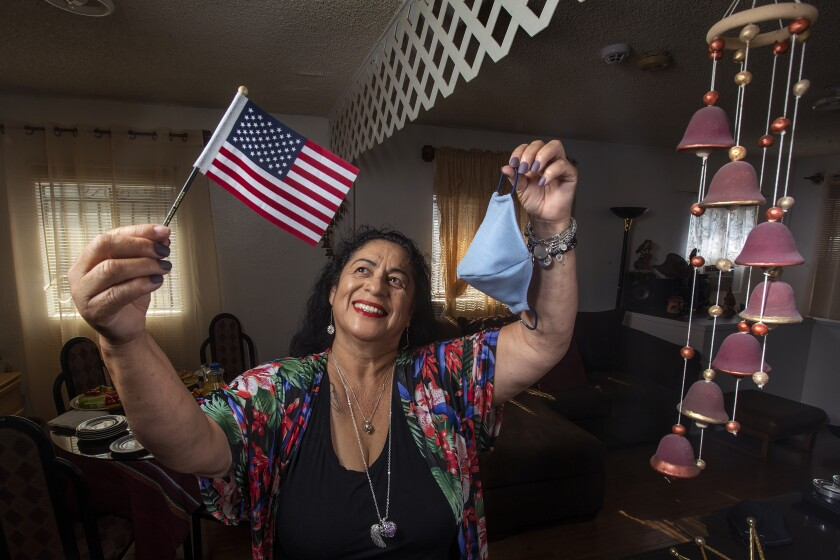 Clemencia Morales, who comes from Guatemala and became a U.S. citizen on Aug. 20, the day after her 65th birthday.