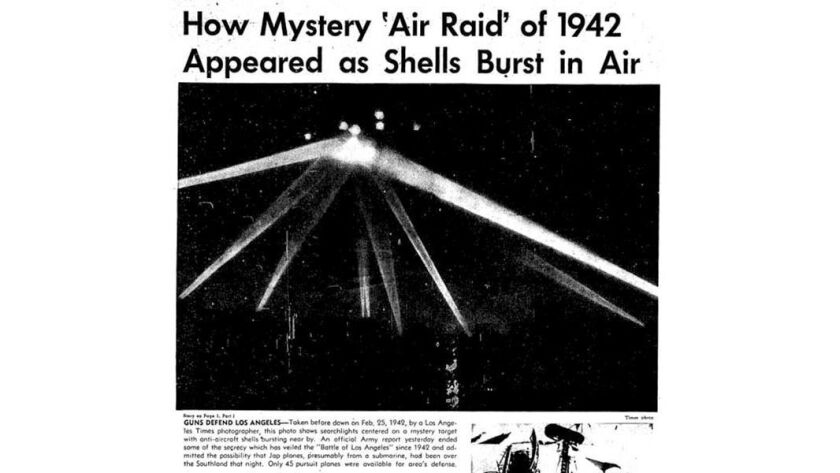 Another retouched version of the Battle of L.A. searchlight image published in the Oct. 29, 1945, Los Angeles Times.