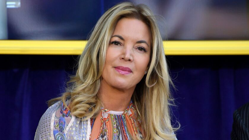 Jeanie Buss at the unveiling of Shaquille O'Neal's statue in front of Staples Center on March 24.