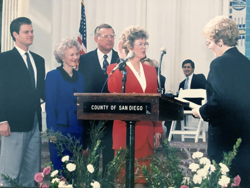 Dianne Jacob getting sworn in for her first term as county supervisor in January 1993.