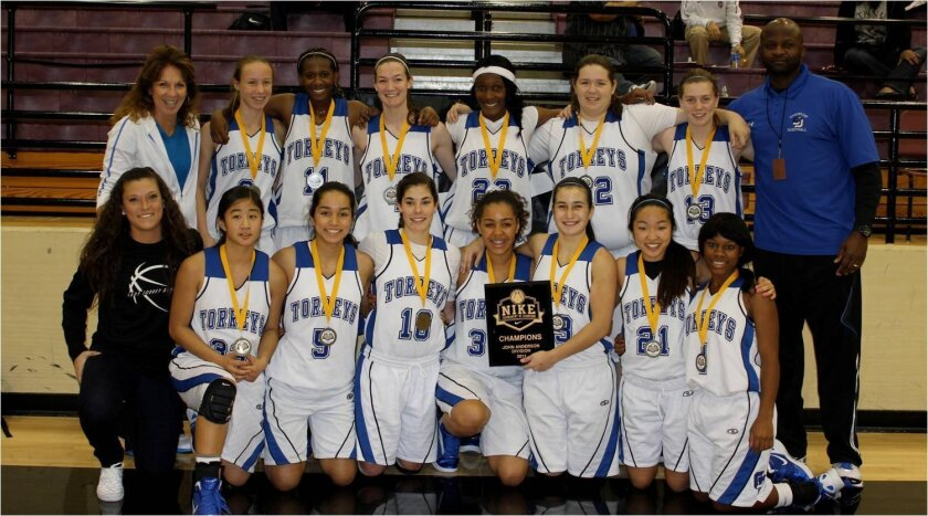 The La Jolla Country Day girls basketball team poses for a photo after capturing the Anderson Division title of the Nike Tournament of Champions last week in Phoenix.  Torrey Times photo