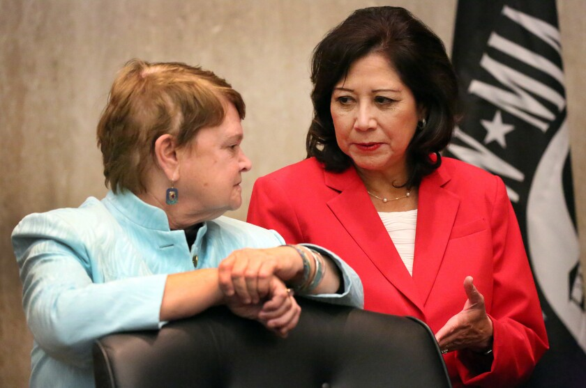 Los Angeles County Supervisors Sheila Kuehl, left, and Hilda L. Solis, seen in 2015, have asked for a report on the unexplained rise in mental competency cases in Los Angeles' mental health court.