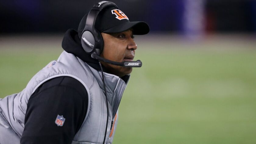 Cincinnati Bengals coach Marvin Lewis looks on in the second quarter against the Baltimore Ravens on Sunday.