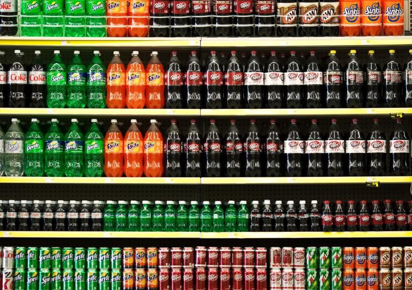 Sodas on supermarket shelf