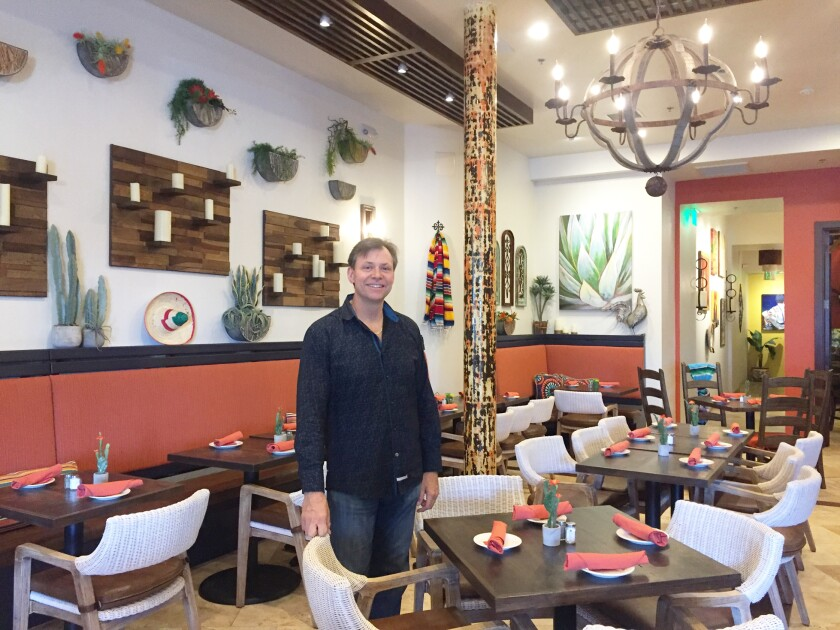 Gaetano Cicciotti in the dining room of his newly opened Mexican restaurant, Cocina del Rancho, in Rancho Santa Fe.