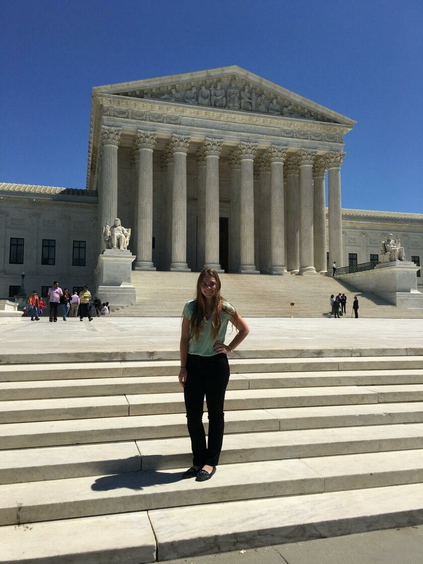 Mary Naughton outside the Supreme Court in Washington, D.C.