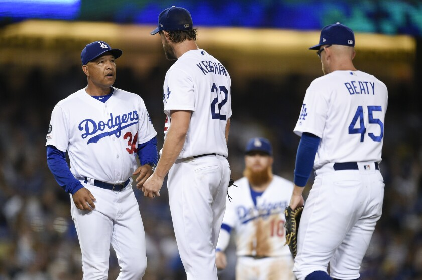 Dodgers manager Dave Roberts, left, relieves starting pitcher Clayton Kershaw during the fifth inning of Friday's game.