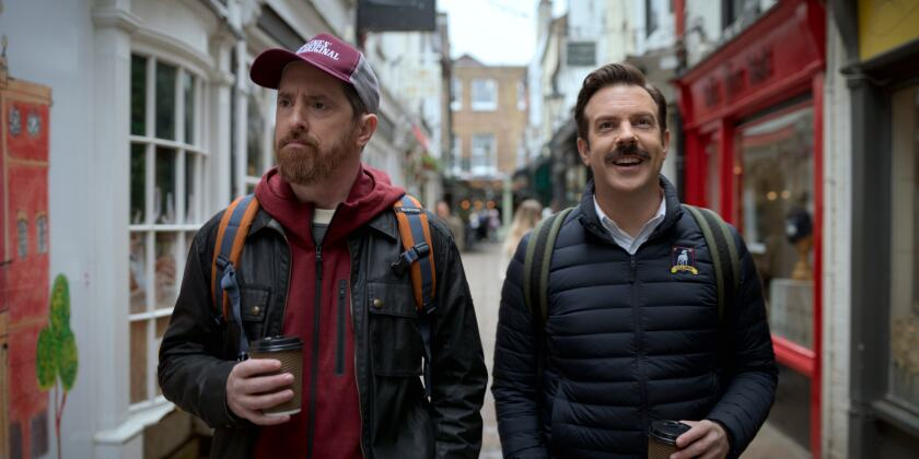 """Brendan Hunt, left, and Jason Sudeikis in """"Ted Lasso."""""""