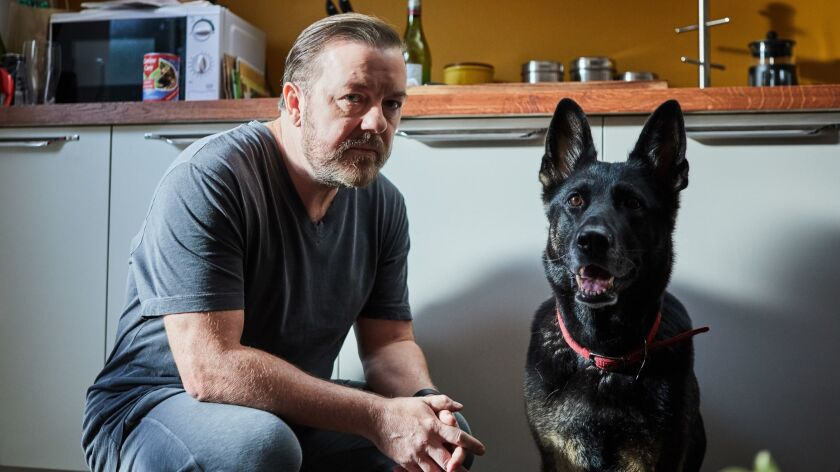 In his new series for Netflix, Ricky Gervais plays a man who has lost his way after the death of his wife.