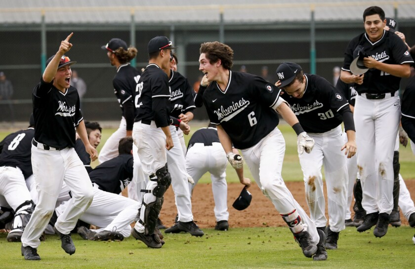 Harvard Westlake infielder Michael Snyder #6 celebrates with his team after winning the CIF Division