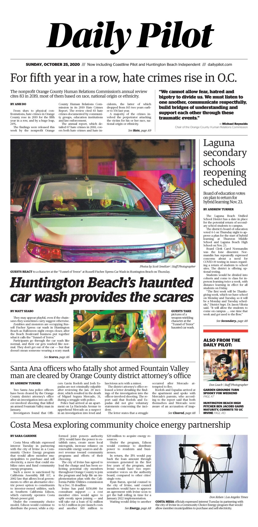 Front page for Daily Pilot e-newspaper for Sunday, Oct. 25, 2020