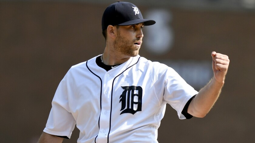 Matthew Boyd reacts after the Tigers record the final out of the sixth inning against the White Sox