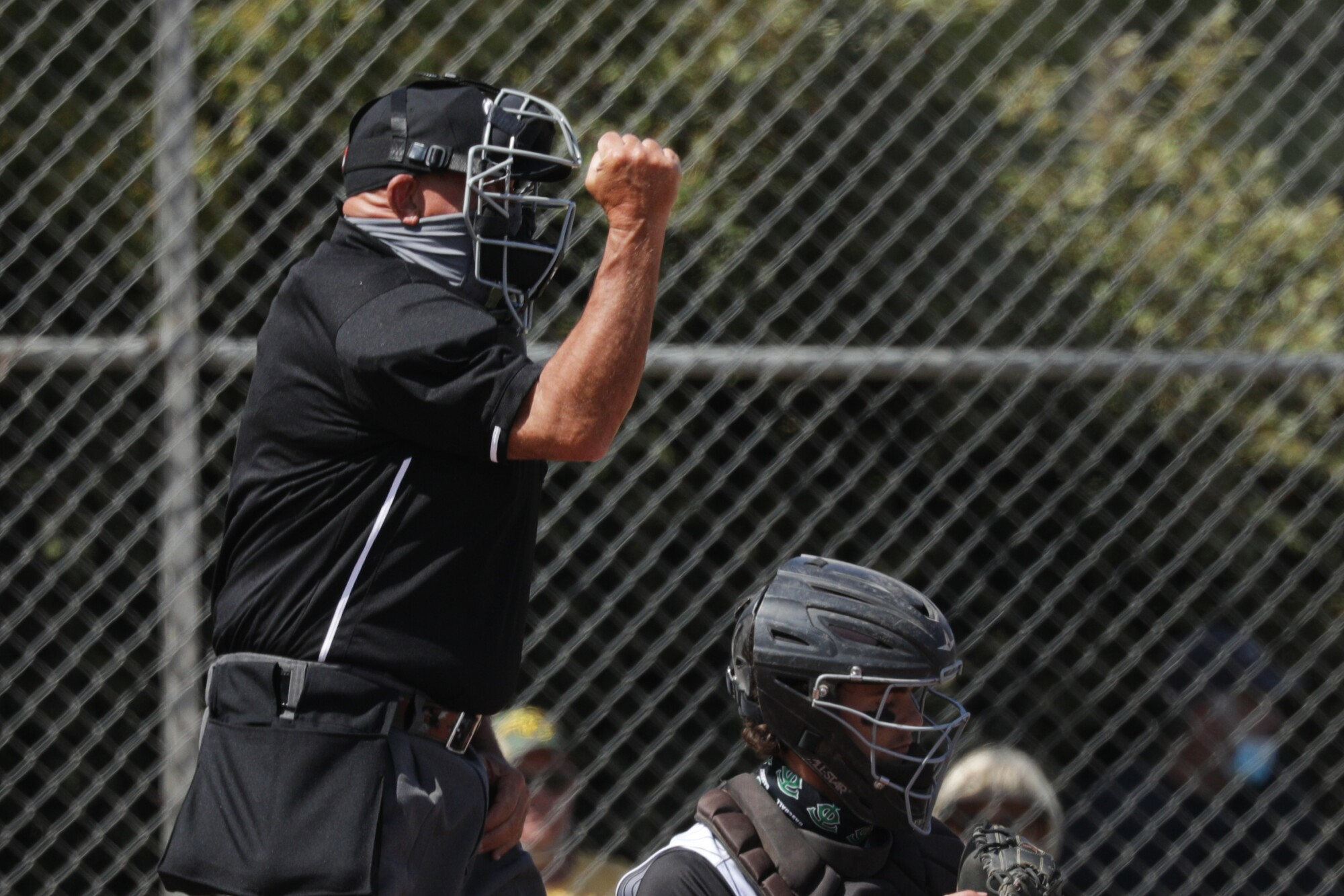 An umpire makes a call during a baseball game
