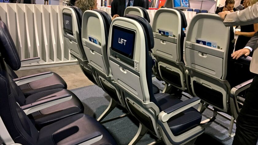 LONG BEACH, CALIF. - SEPT. 26, 2017 - Seat manufacturers display their new models at the Aircraft In