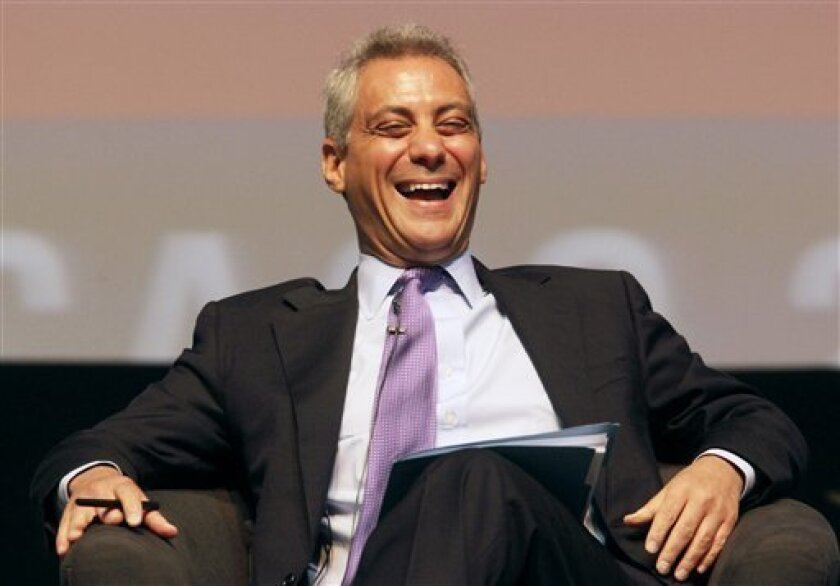 "FILE - In this April 27, 2010 file photo, White House Chief of Staff Rahm Emanuel laughs as he takes some good natured ribbing about his recent comment about someday wanting to be mayor of Chicago while participating in the sixth annual Richard J. Daley Global Cities Forum in Chicago. Daley, 68, who has presided over the nation's third-largest city for 21 years, like his father did before him, announced Tuesday, Sept. 7, 2010, that he will not run for a seventh term. Emanuel said in April during a television interview that ""it's no secret"" he'd like to run for mayor of Chicago someday. (AP Photo/M. Spencer Green, File)"