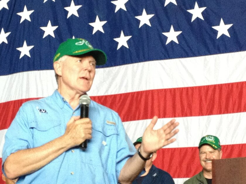 """Secretary of the Navy Ray Mabus speaks to sailors aboard the aircraft carrier Nimitz following the """"great green fleet"""" biofuel demonstration Wednesday."""