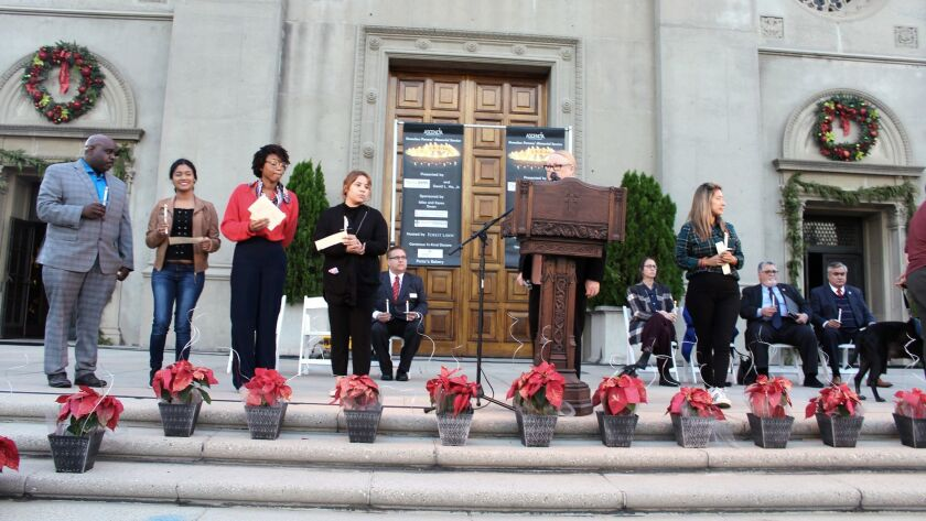 In 2018, Ascencia staff members read the names of 12 homeless people who passed away while on the streets the year prior. The staff members were outside Forest Lawn in Glendale.