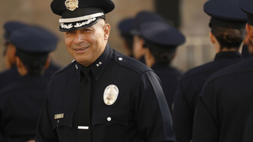 LOS ANGELES, CA – May 7, 2018: LAPD Deputy Chief Robert Arcos as he assists Chief Charlie Beck co