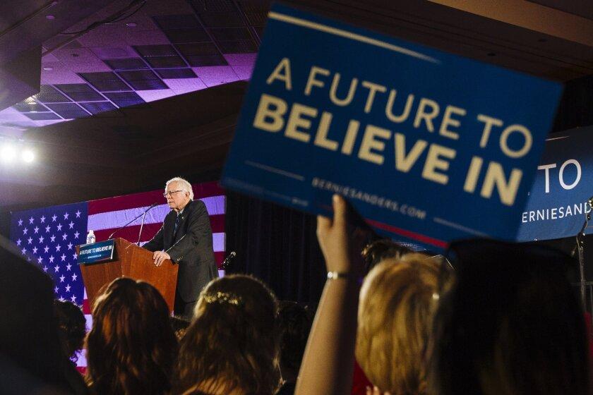 Democratic presidential candidate Sen. Bernie Sanders discusses immigration in Las Vegas.
