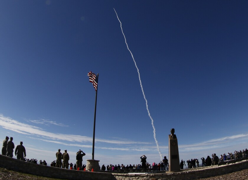 A rocket interceptor soars toward space from Vandenberg Air Force Base on Jan. 28, 2016. It veered far off-course after one of its thrusters shut down.