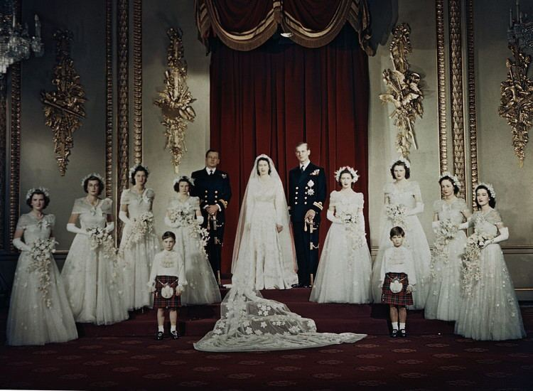 Queen Elizabeth II and Prince Philip Mountbatten pose for a formal wedding portrait on Nov. 20, 1947.