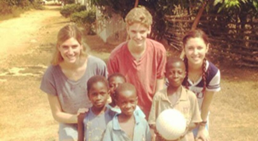 Cosy and WIll Burnett with Kara Sheffield and children in Ghana.